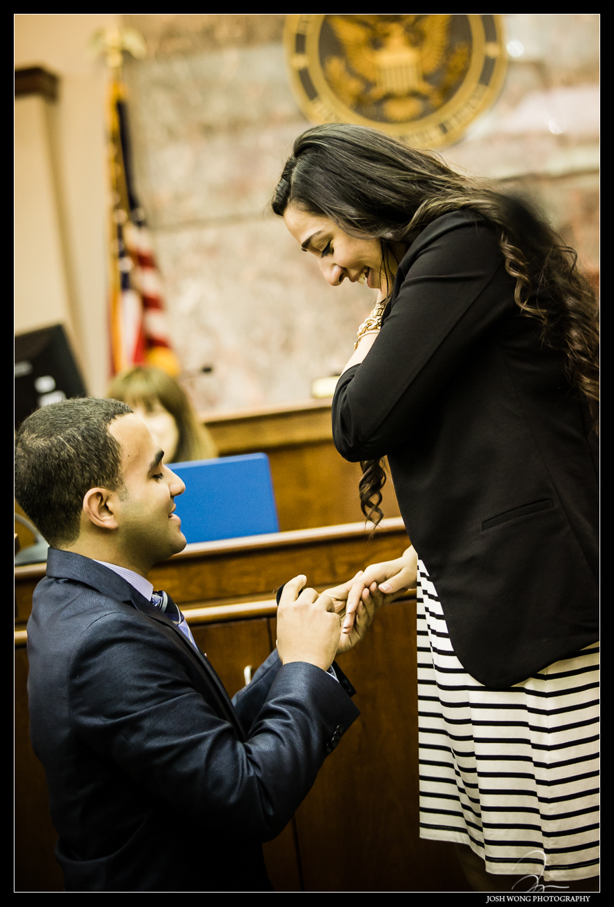 The actual proposal. Anthony watches his bride to be reading a letter from Anthony. Anthony's surprise wedding and marriage proposal to Christina in a Mock Courtroom Trial.