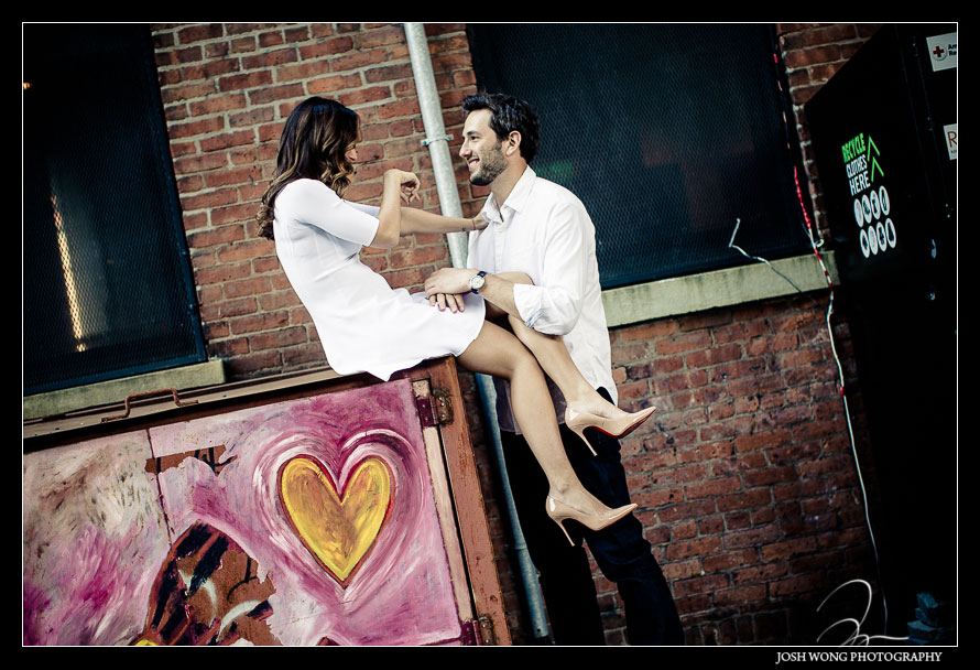 DUMBO street art. DUMBO engagement pictures by Brooklyn engagement photographer Josh Wong Photography