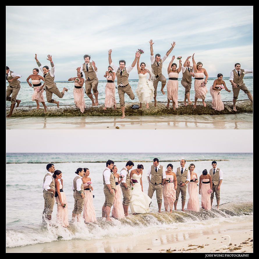 The bridal party photo shoot. Destination Wedding at Grand Velas Resort in Playa Del Carmen, Mexico. Wedding Pictures and photos by top destination wedding photographer Josh Wong Photography