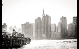 New York Engagement Shoot - Long Island City and DUMBO Brooklyn. engagement photography by Josh Wong Photography with images of the Brooklyn Bridge and the Empire State Building