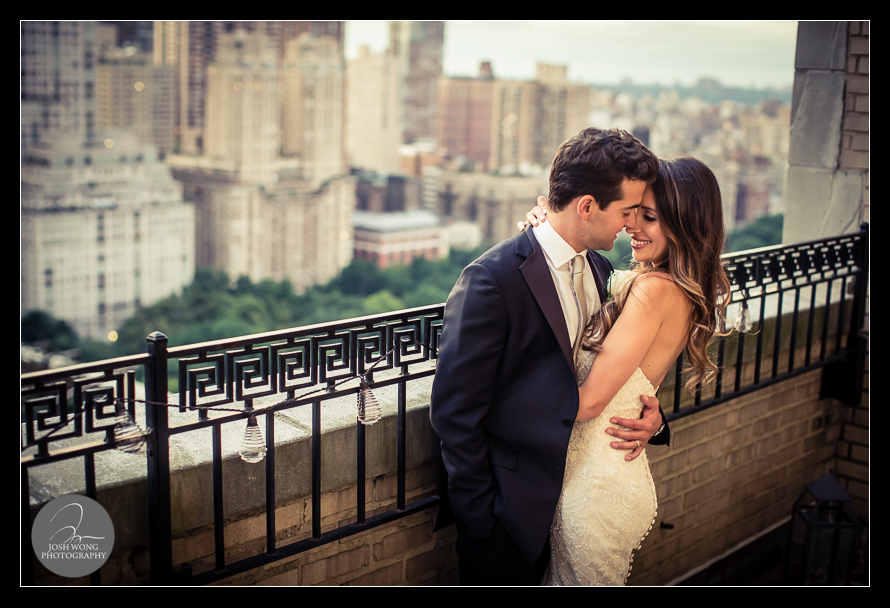 The terrace outside of the  JW Marriott Essex House bridal suite has an amazing view of Central Park and the Upper West Side. Wedding pictures and photos provided by Josh Wong Photography, NYC