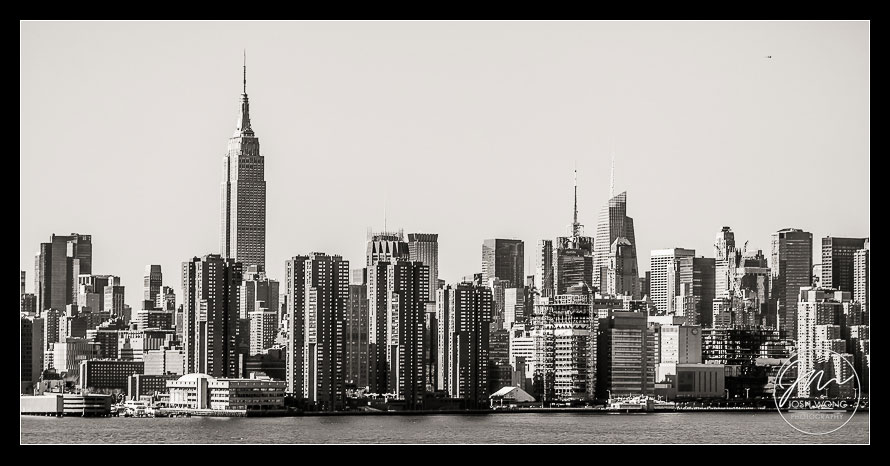 New York City Skyline view from the Wythe Hotel Bridal Suite. Wythe Hotel Wedding pictures by Brooklyn Wedding Photographer Josh Wong Photography