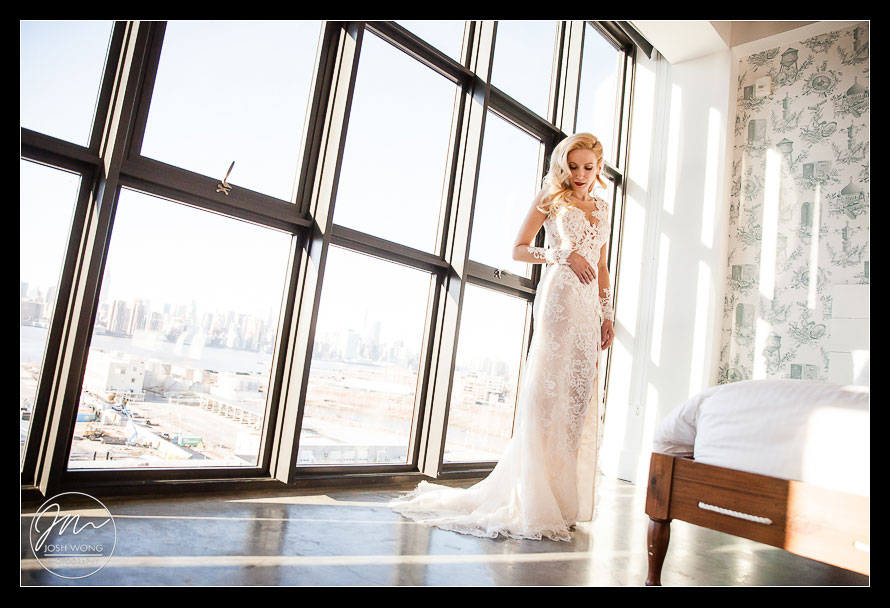 The wedding dress by Ines Di Santo. A Wythe Hotel Wedding. Pictures by Brooklyn Wedding Photographer Josh Wong Photography