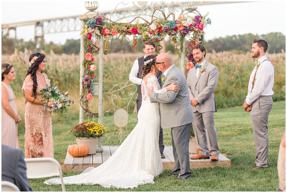 Cody & Hali's Boho Chic Barn Wedding at Thousand Acre Farms in Delaware Photos_0041.jpg