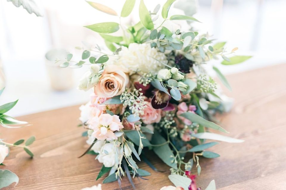 Dusty Pink and Green bouquet by Jill Lewko at Philander Chase Knox Estate in Valley Forge