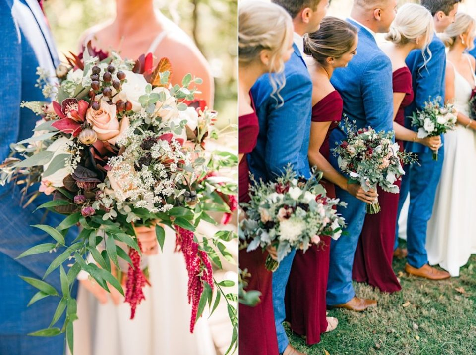 Maroon and green bridal party bouquets by Jill Lewko at Philander Chase Knox Estate in Valley Forge