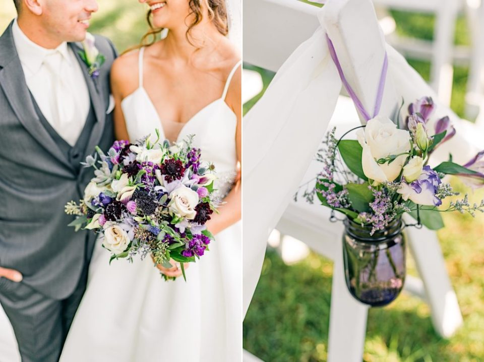 Bride and Groom with purple and green bouquet by Jill Lewko at the Barn on Bridge in Collegeville