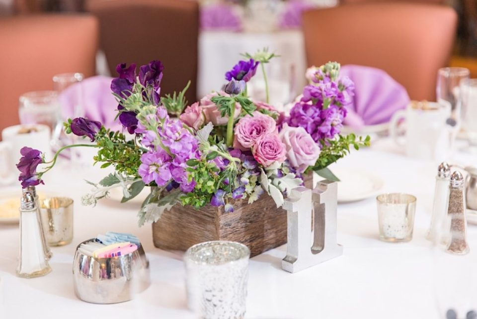 Purple and Pink Centerpiece by A Garden Party at Scotland Run Golf Club in New Jersey