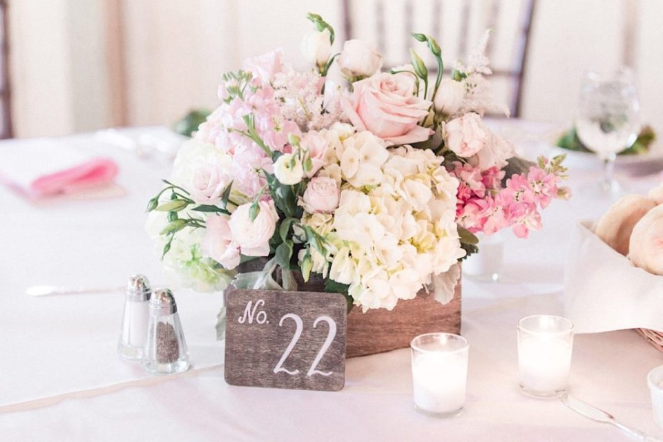 Blush Centerpiece by A Garden Party at a backyard wedding in New Jersey