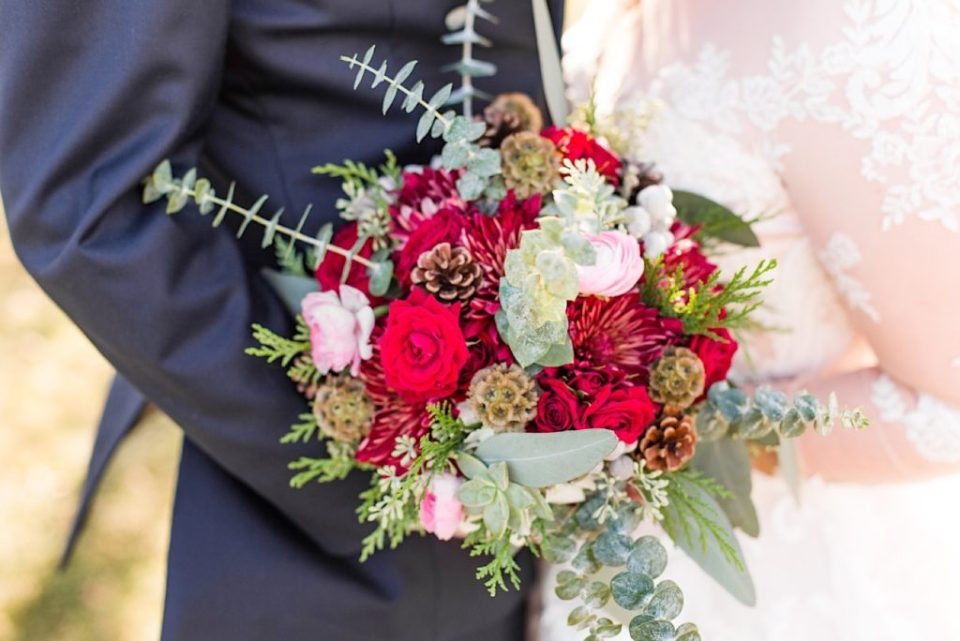 Maroon and Green bouquet by Willow and Thistle at Normandy Farm in Blue Bell