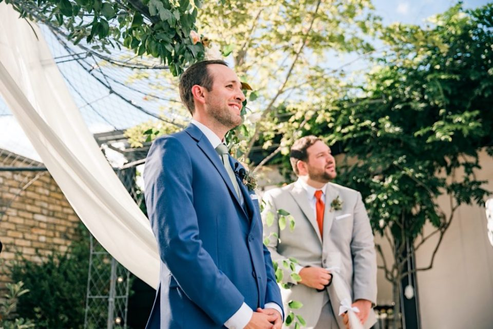 Groom Reaction Terrain Gardens Micro Wedding Photos