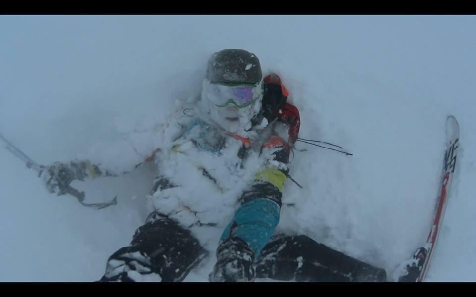 Ski season crash in the snow powder