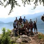 Hiking group in Slovenia at Lake Bohinj