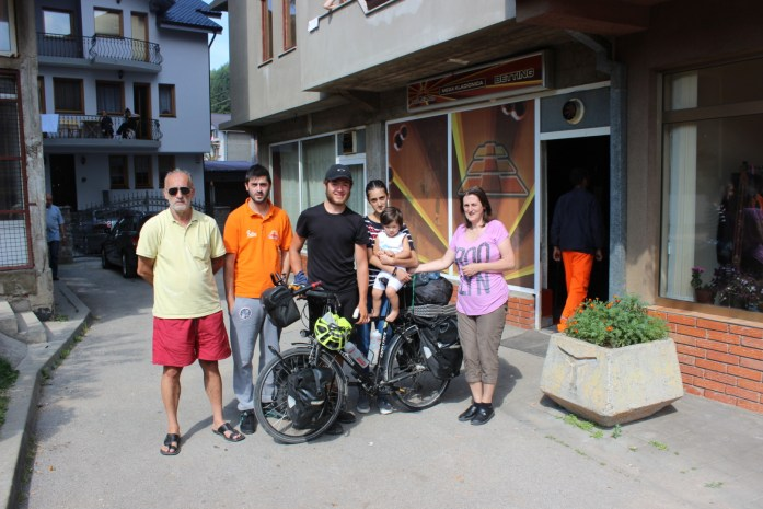 Meeting friendly locals in Montenegro on my bike touring adventure.