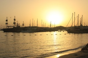 Beautiful sunset at beach in Bodrum while cycling south-west turkey.