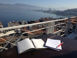 A morning relaxing in Izmir during bike touring adventure.