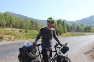 A very sweaty picture after cycling south-west Turkey