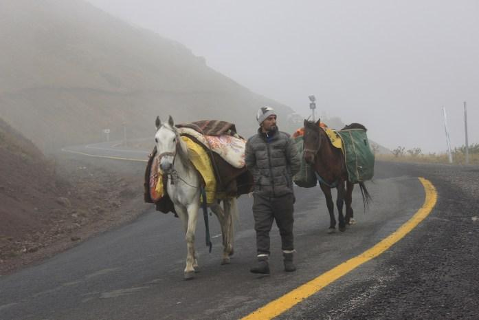 Nomad walking through mountains of East Turkey.