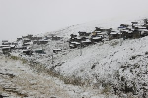 Village in the snowy mountains of Turkey.