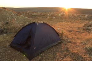 Camping tent at sunset.