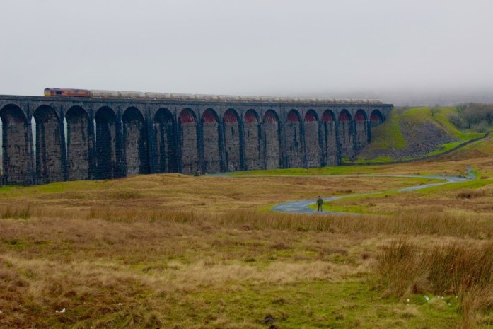 Train over Ribblehead Viaduct in Yorkshire.