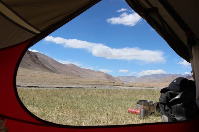 View from my tent looking out over the Pamir Plateau.