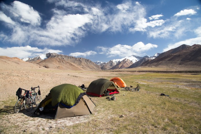 3 tents camping on the Pamir Plateau