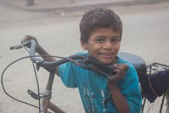 Nepali boy child with cycle.