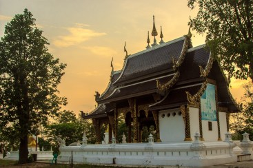 Thailand Buddhist temple at sunset