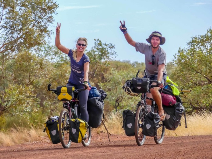 Two bicycle tourers in Australian Outback