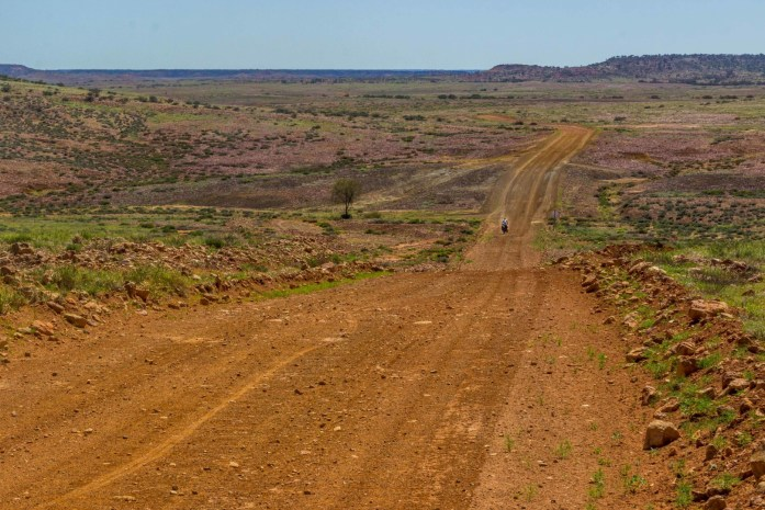 A lone cyclist on an unsealed dirt road on the Oodnadatta Track in the Australian Outback