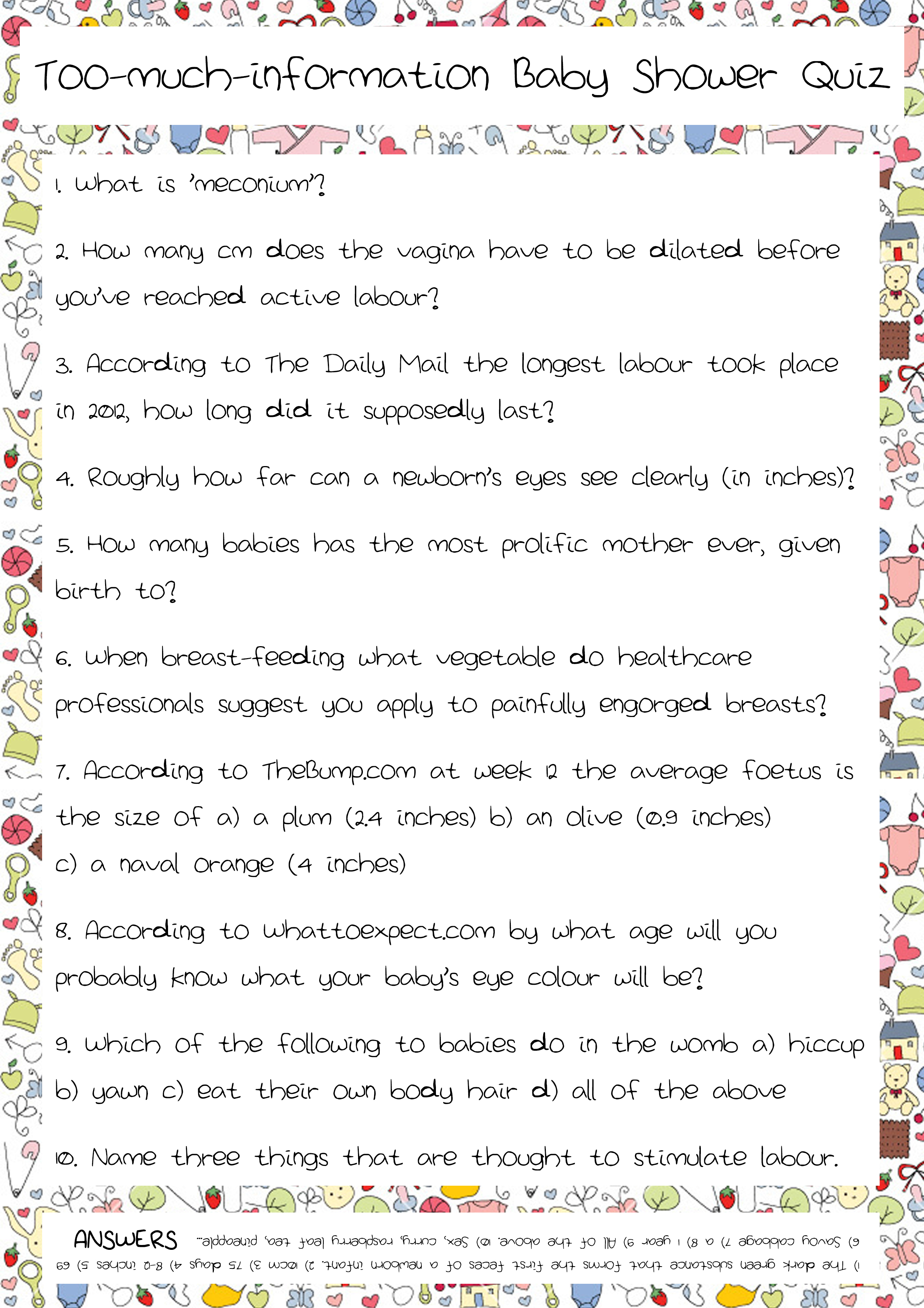 Baby Shower Quiz Part 2