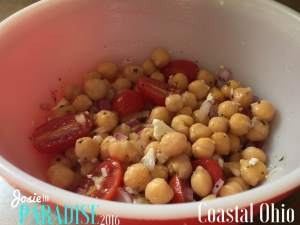 Greek take on a nutty, buttery bean. Greek Garbanzo Bean Salad.