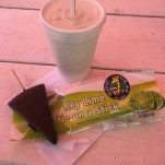 Chocolate dipped, frozen key lime pie and fresh key limeade from the Blond Giraffe in Key Largo
