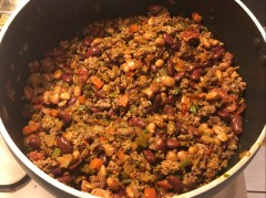 Add the meats and beans