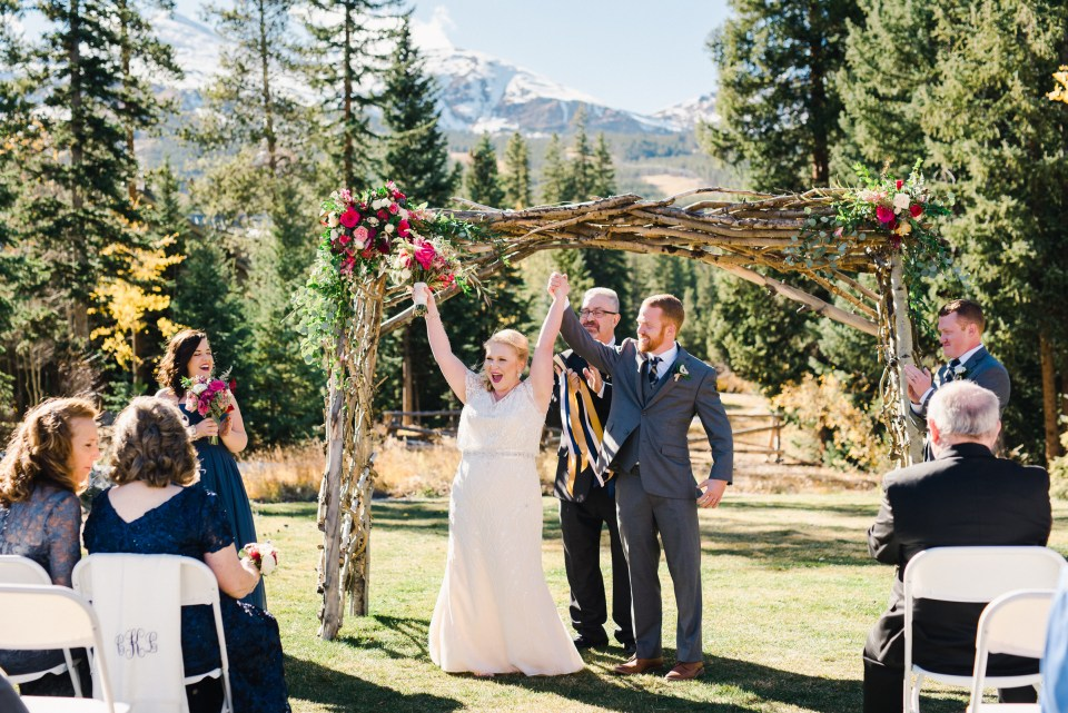 Bride and Groom Celebrate being married in Fall Colorado Wedding | Josie V Photography