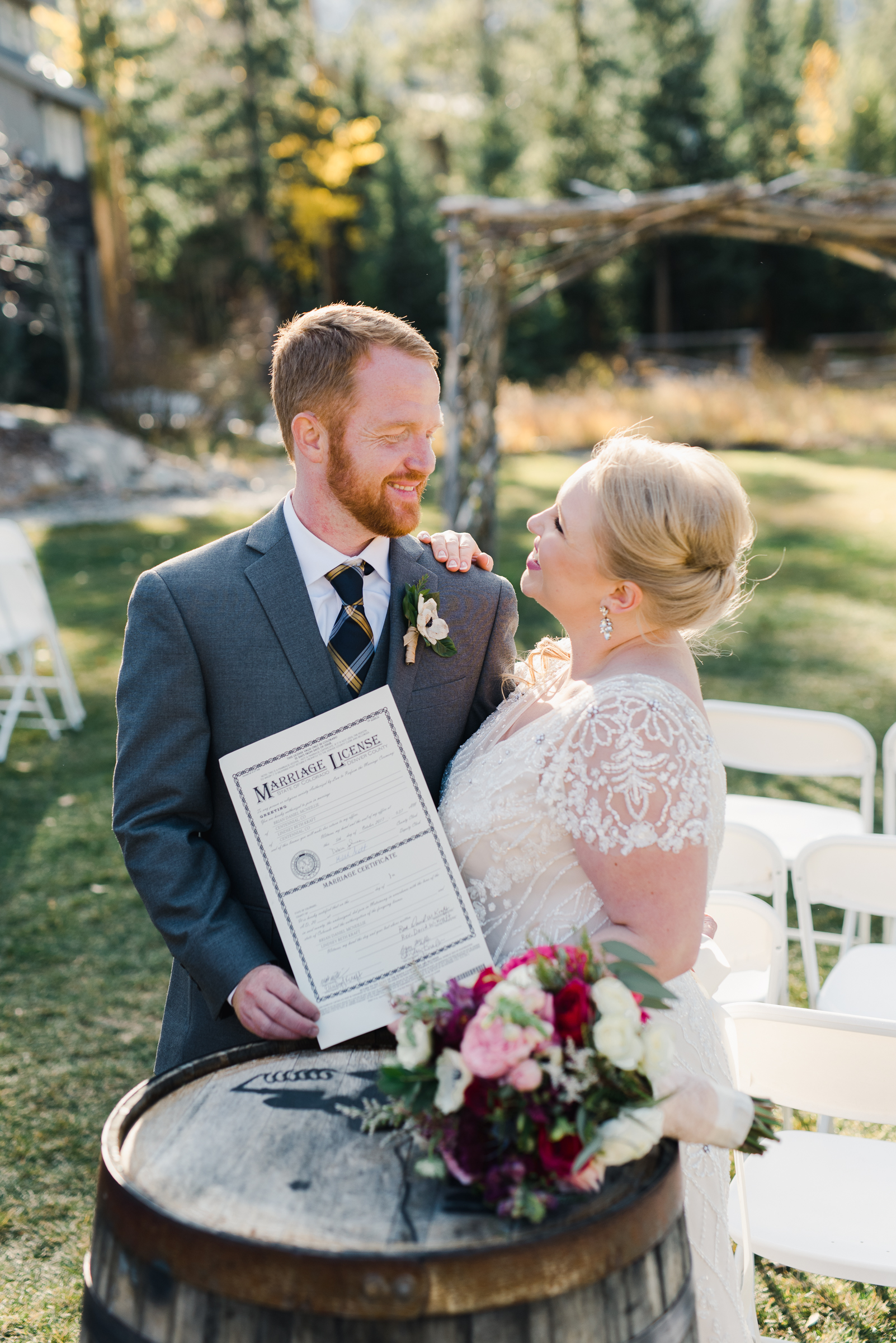 Couple signs their marriage license at the Breckenridge Nordic Center | Josie V Photography