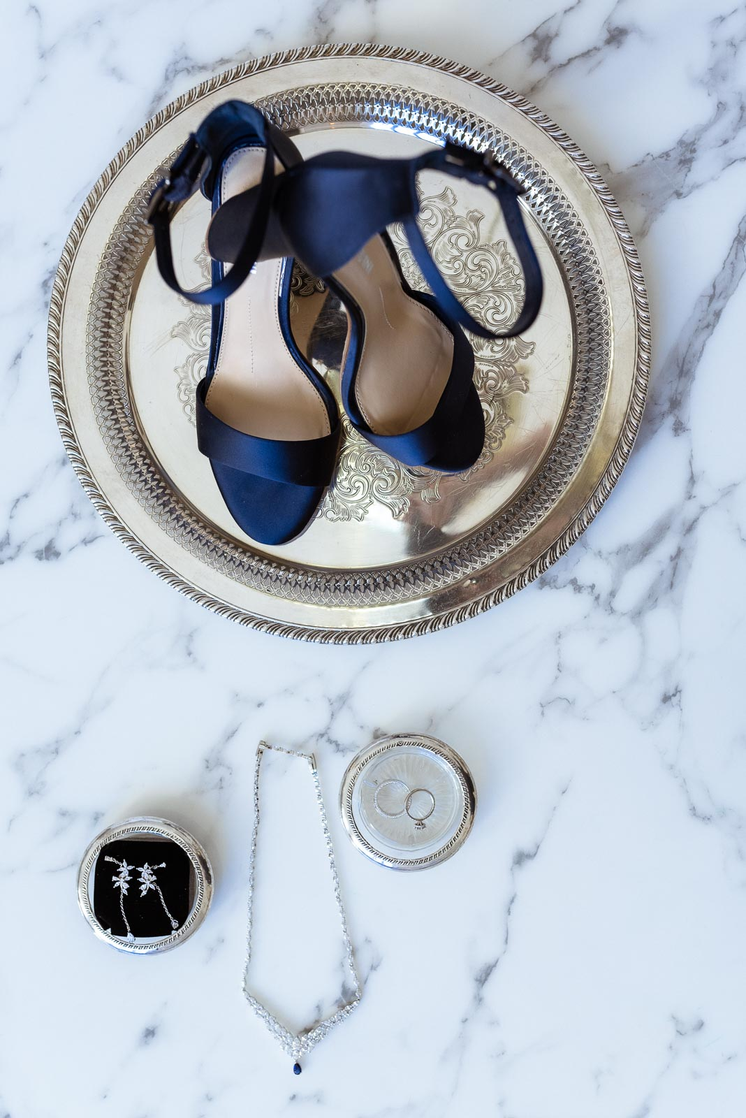 Blue Wedding Shoes and Wedding Jewelry | Josie V Photography