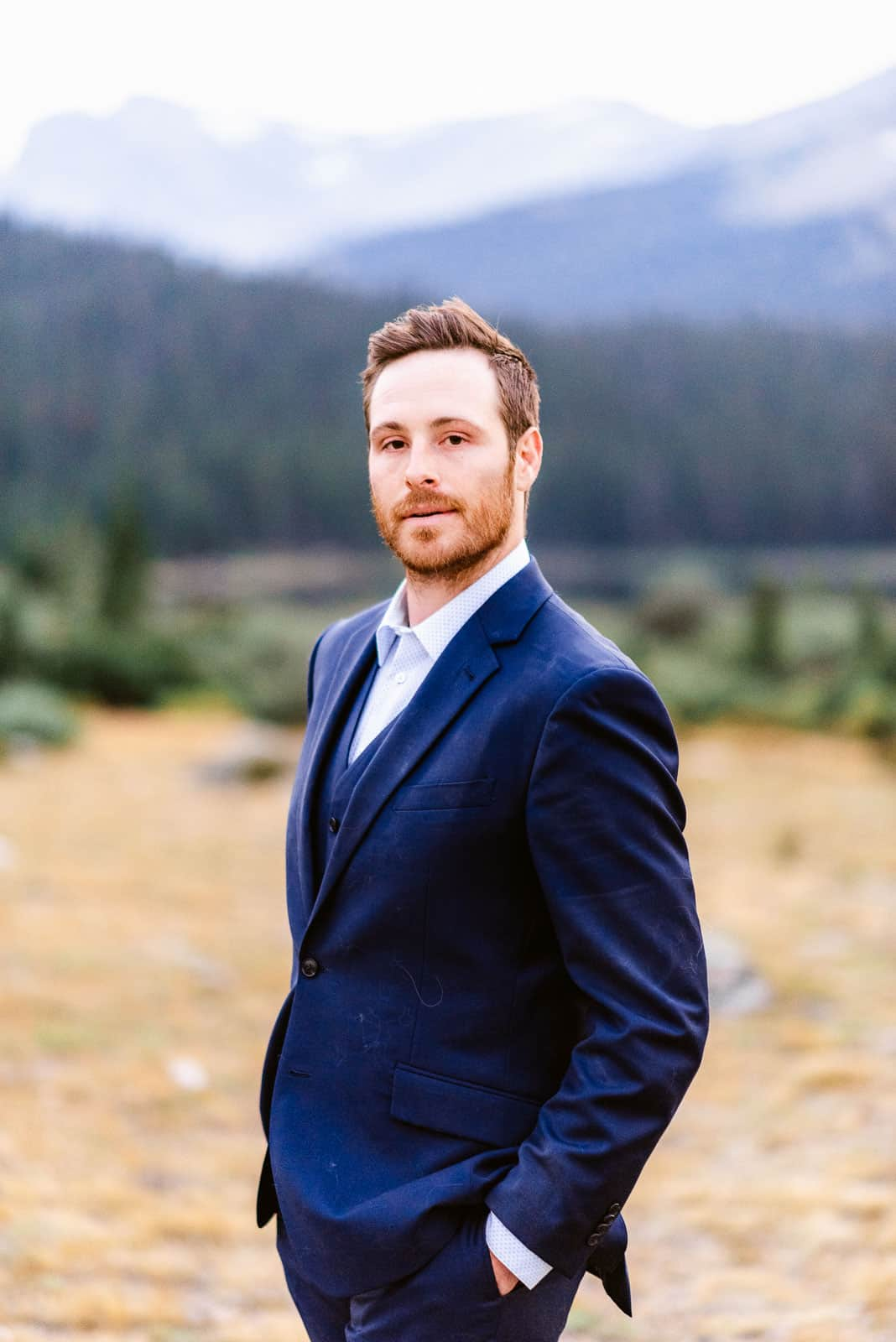 Groom portrait from a mountain vow renewal
