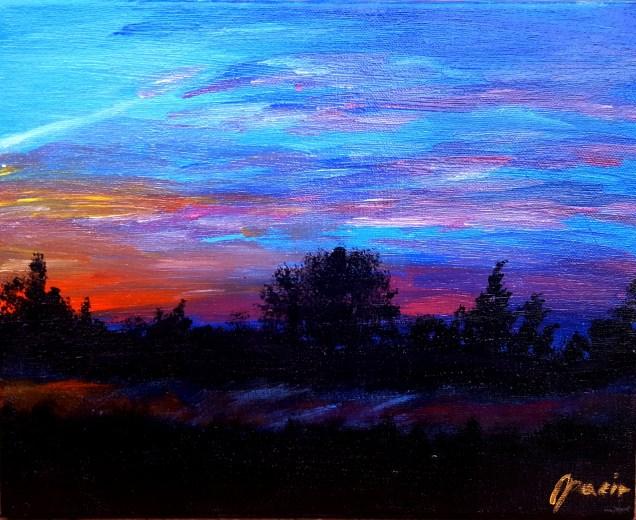 Burning sky (sunset), 30x24 cm