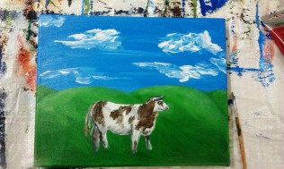 Roughly painted cow