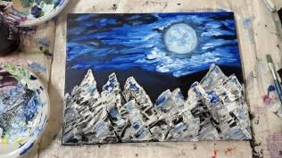Mountains reflecting the moonshine