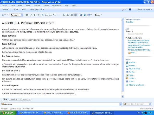 Print do Windows Live Writer mostrando como o blog era editado antes da migração para WordPress. Fim da descrição.