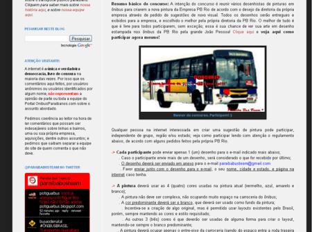 Post do Ônibus Paraibanos que anuncia o concurso de concorrência criativa da empresa PB Rio.