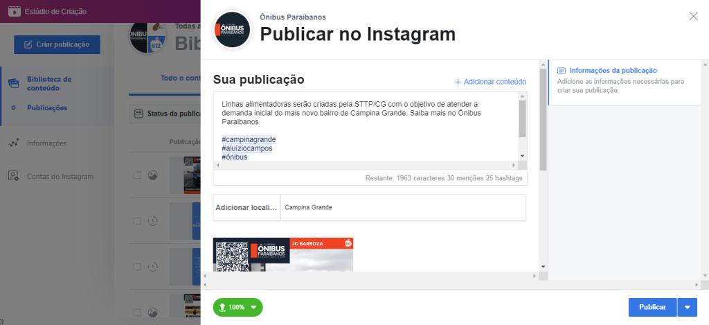 Exibição do agendador de posts do Instagram, com o texto adicionado com hashtags, respeitando as diretrizes determinadas. Fim da descrição.