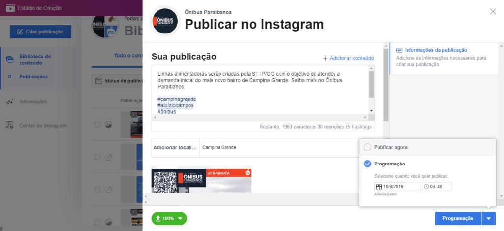 Exibição da ferramenta de agendamento do Instagram, mostrando a lista de posts que já foram ao ar e o que foi programado para entrar no ar. Fim da descrição.