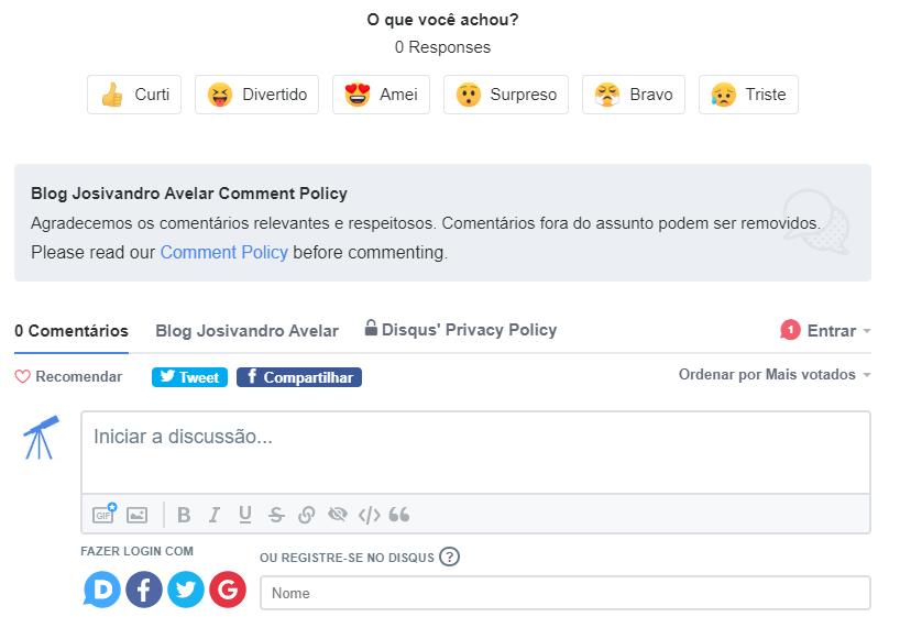 Print de uma caixa de comentários do Disqus, semelhante as incorporadas abaixo de cada post do Blog Josivandro Avelar. Fim da descrição.