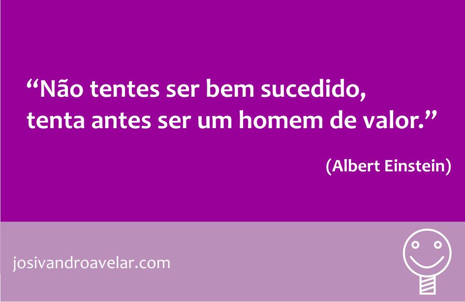 Não tentes ser um homem bem sucedido, tenta antes ser um homem de valor. Frase de Albert Einstein.