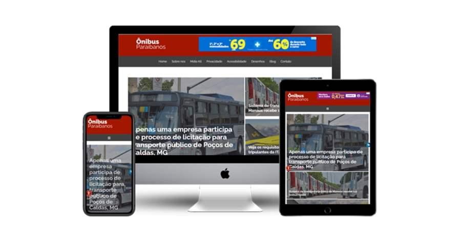 Imagem de telas de computador, tablet e celular exibindo a home do novo Ônibus Paraibanos. Fim da descrição.