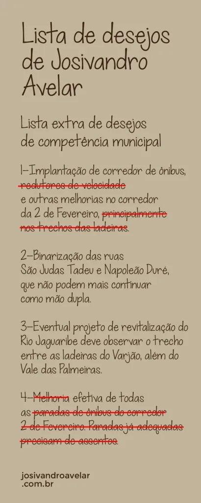 Balanço final da terceira lista de desejos do Blog Josivandro Avelar.